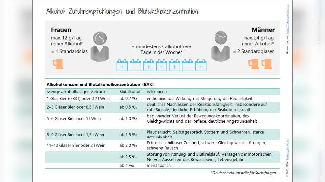 Alkohol - Zufuhrempfehlungen und Blutalkoholkonzentration