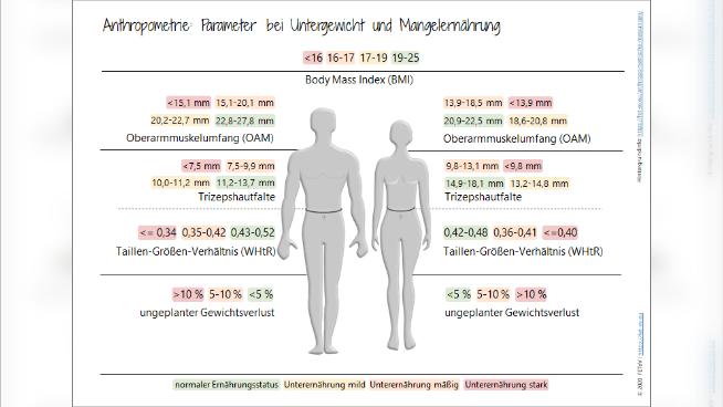 Anthropometrie: Parameter bei Untergewicht und Mangelernährung