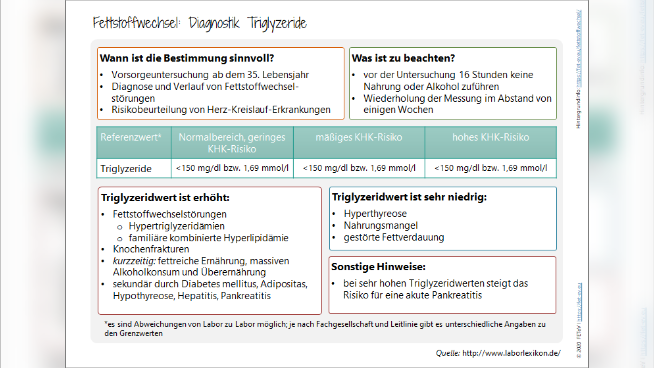 Fettstoffwechsel: Diagnostik Triglyzeride