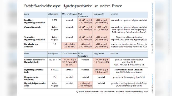Fettstoffwechselstörungen: Hypertriglyzeridämien und weitere Formen