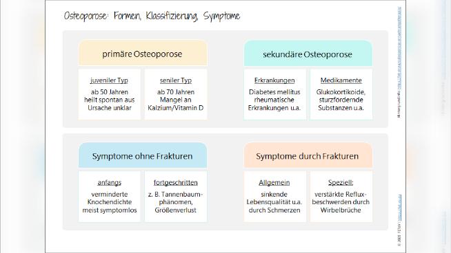 Osteoporose: Formen, Klassifizierung und Symptome