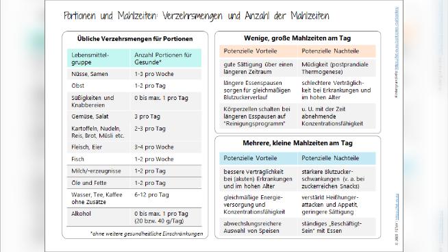 Portionen und Mahlzeiten: Verzehrsmengen und Anzahl der Mahlzeiten