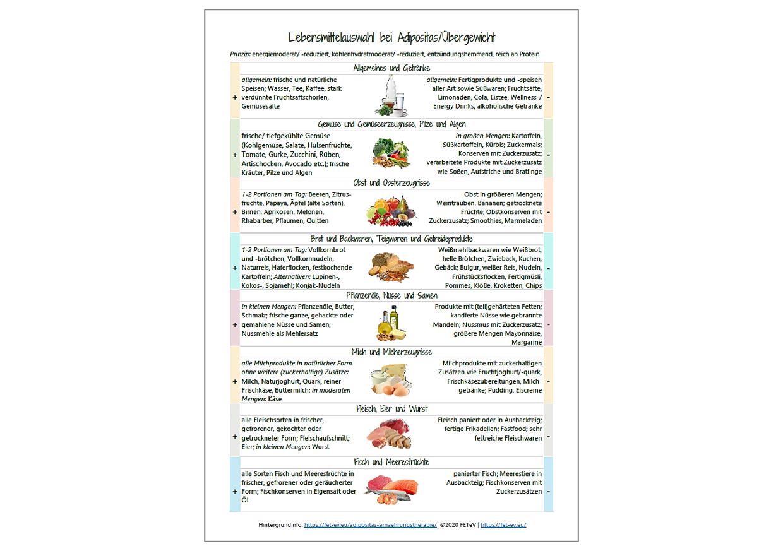 Produkt Adipositas - Lebensmittelliste