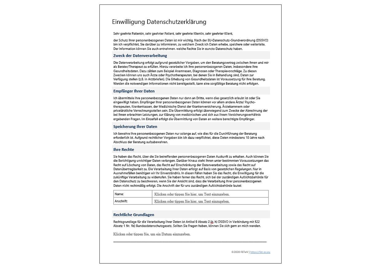 Einwilligung Datenschutzerklärung