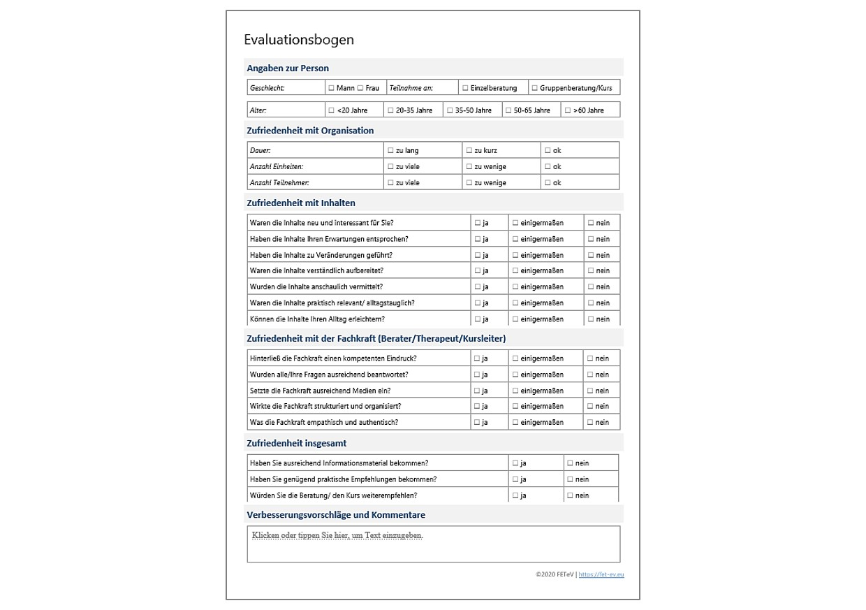 Produkt Vorlage Evaluationsbogen