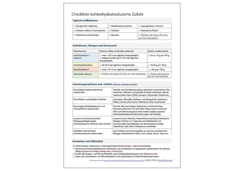 Vorlage kohlenhydratreduzierte Zufuhr Checkliste